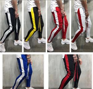 Neue Hip Hop-Kontrast-Farben-Hosen Jogginghose Mens Casual Side Striped Patchwork Farbe Hosen Jogger Sportbekleidung Jogginghose Bottom