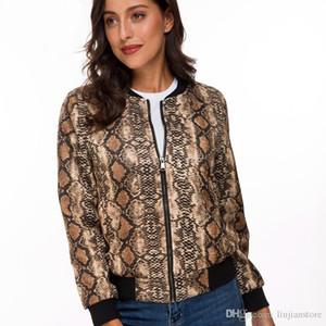 Весна женщин Цифровые печатные куртки вскользь женщин Тонкий Стенд воротник пальто Модельер пальто с застежкой-молнией