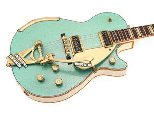 Custom Shop Masterbuilt 1955 Duo Jet Surf Green Sparkle Guitarra eléctrica Lados traseros blancos Headstock, Gold Sparkle Binding, Bigs Tailpiece,