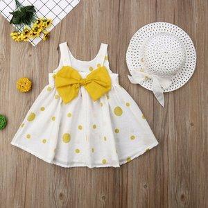 2019 Nouveaux Boho Tout-petits enfants bébé robe d'été sans manches Bow-noeud à pois Party Tulle Pageant Dress + Chapeaux