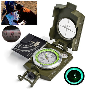 Multifunctional Compass All Metal Military Waterproof High Accuracy Compass with Bubble Level for Outdoor Camping Hiking