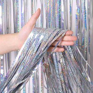 Film Hochzeit Transparent Bunte Dekorative Pull Blumen Raum Regen Silk Transparent Bunte Vorhang Party Supplies