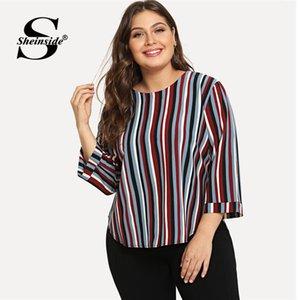 Sheinside Çizgili Artı Boyutu Kadın Bluz Ofis Bayanlar Çalışma Zarif Renk Bloğu Uzun Kollu Üst Sonbahar Rahat Bluzlar Y19050501