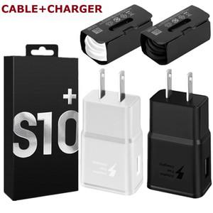 Für Samsung S10 Wandaufladeeinheit QC3.0 Schnell Quick Power Adapter + Typ c-Ladekabel für s8 s9 S10e Anmerkung 8 9 10 Android-Handy mit Box