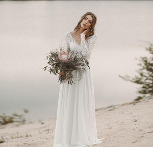 Beach Country Wedding Dresses 2019 A-line Chiffon illusion Lace Top V-Neck With Long Sleeves Backless Draped Bridal Gown Illusion Bodice