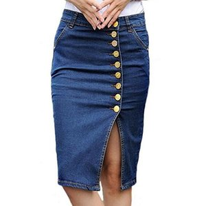 New Women's Winter Elastic Split High Waist Package Hip Midi Denim Skirt