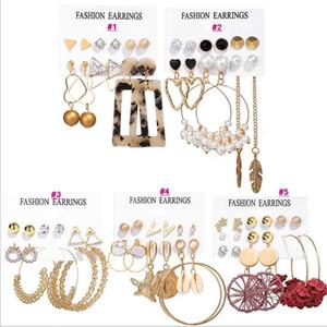 Bohemian Tassel Acrylic Earrings Set For Women Vintage Gold Big Geometric Round Circle Pearl Rhinestones Earrings boucle doreille femme