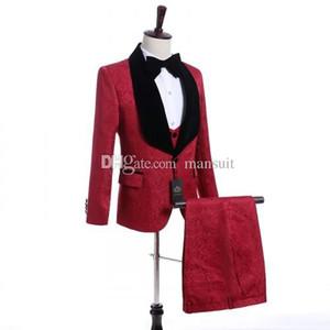 고품질의 신랑 들러리 목도리 검은 옷깃 신랑 턱시도 빨간 패턴 남자 정장 웨딩 / 댄스 파티 최고의 남자 (재킷 + 바지 + 조끼 + 넥타이) M954
