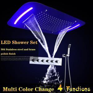430x710mm 5 웨이 높은 흐름 샤워 꼭지 욕실 전기 LED 천장 Recessed Showerhead 강우량 폭포 안개 거품 안개
