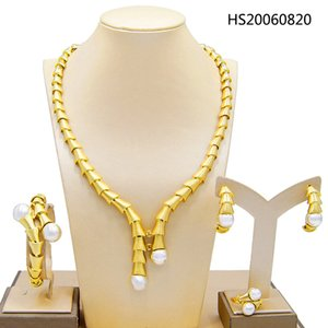Yulaili Fashion Jewellery Nigeria Dubai Gold-color African Bead Necklace Earrings Bracelet Ring Wedding Jewelry Sets Bridal Gifts
