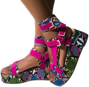 2020Platform Sandals Ladies Gladiator Sandals Colorful Summer Women Platform Wedges Shoes Woman Ankel Strap Snakeskin ShoesNiche