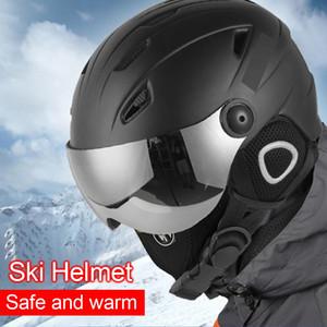 Casco de esquí Gafas de visera Hombres Mujeres Snowboard Casco de moto de nieve Monopatín Seguridad invierno caliente máscara de esquí Mas