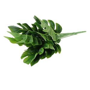 1 bouquet 9 Fork Simulation Plantes Palmier tortue Feuilles Bonsai Garden Novel Bush Plantes en pot pour Bureau Lifelike Décoration