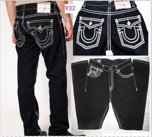 Mens diritto Pantaloni Jeans pantaloni lunghi pantaloni da uomo vero Coarse Linea Religion Jeans Abbigliamento uomo casual pantaloni della matita Blue Black Denim 9328