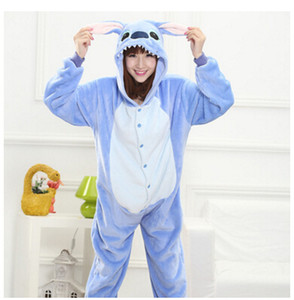 Alle in einem Flanell Anime Pijama Cartoon Cosplay warm einfach für Bad Erwachsene Unisex Homewear Onesies Tier Pyjamas Stich