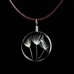 Ожерелья-чокеры из одуванчика Ожерелье из хрусталя с шариками из клеверной кожи Кожаное колье с длинными сушеными цветами Медальон Кулон Ожерелья