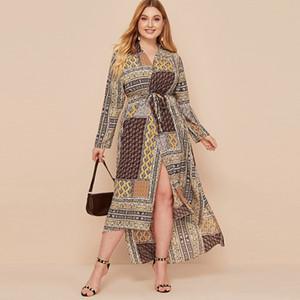 Мусульманские старинные печатные повседневные платья весна осень плюс размер длинный арабский Сискакия этническая абая дубай одежда