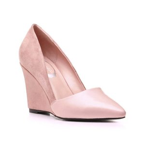 2020 New Wedges Shoes Womens Pumps Top Fashion High Heel Shoes Point Toe Footwear Slip On Party Shoes Sheepskin Genuine Leather