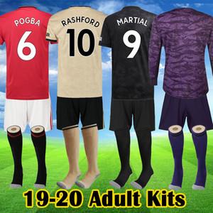 FC Rashford Pogba jérseis uniformes do futebol 2019 2020 Manchester WAN BISSAKA Lingard MARCIAL REINO Utd Kits de futebol homem Calças curtas Meias