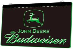 LS1915 0 John Deere Budweiser Bar RGB simultaneo colori telecomando incisione 3D LED della luce al neon della barra del negozio Bar Club