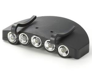 Alta qualidade 5 LEDs Camping Pesca Clipe Hat Cap Portable Light Luz lâmpada farol Outdoor sobrevivência de emergência