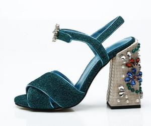 Strap stile Roma Strap Slingback Donna Stivaletti Open Toe Block Donna Sandali con borchie Tacco alto donna Scarpe donna