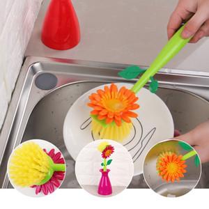 Spazzola per la cucina del fiore del sole Spazzola per la pulizia della cucina del bagno in plastica Spazzola per pentole Strumento per la pulizia delle piastrelle