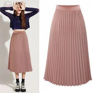 Pink Pleated Skirt Women High Waist Pleated Midi Skirt Chiffon A Line Chic Elegant High Quality Winter Autumn Skirt Yyw 8889