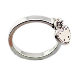 New autêntica 925 Silver Ring Heart-shaped Cadeado do coração do amor de bloqueio Anéis femininas presente Vanlentine Dia DIY Jóias