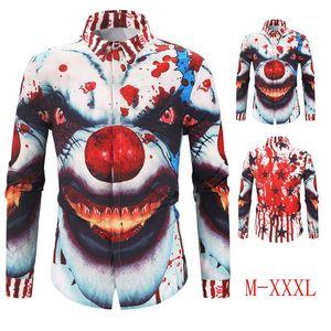 Designer Shirts Turn Down Collar 3D Digital Mens Tops Autumn Casual Mens Apparel Clown Printed Mens