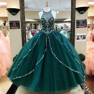 Hunter Yeşil Boncuklu Balo Quinceanera Modelleri payetli Mücevher Boyun Balo Parti Abiye Katmanlı Sweet 16 Pageant Elbise
