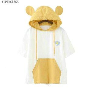 Frauen Kurzarm Kapuzenpullover Taschen Japan-Art Daisy Stickerei Studenten Kapuzenanzug Pullover 2020 neue Mädchen lose Sweatshirts