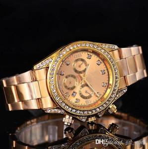 Роскошь Женевские часы Женские Алмазы Часы Браслет Дамы Дизайнерские Наручные часы 3 Цвета 103621 Календарь Золотые Часы