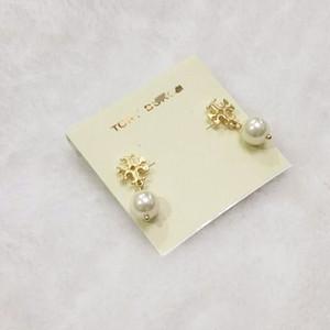 Mit Karte Glossy Stud Pearl Drop Ohrringe; Europäischer und amerikanischer Stil; Legierung goldene und silberne Dame Earrings