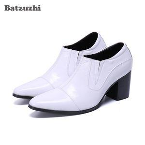 Stivali in pelle bianca Batzuzhi Stivaletti Scarpe a punta in pelle formale Stivaletti Uomini White Wedding uomini di partito sette centimetri tacchi alti!