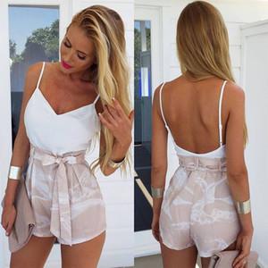 E-BAIHUI 2019 Seksi Kadınlar Yaz Tulum Moda bohemian baskı kolsuz derin V Yaka giyim 2 parça L094
