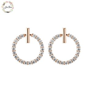JIOFREE New Trendy Rhinestone round Fashion charm Clip on Earrings Without Piercing for Women Luxury Clip Earrings gift