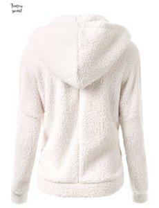 Yeni Kış Sonbahar Sıcak Mont Polar S Casual Kadın Sweatershirt Coat Katı Yumuşak Kapşonlu Kadın Coat Ss214