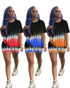 Womens tracksuits short sleeve shorts outfits 2 piece set tshirt + pant casual sport suit new hot selling tie-dye women clothes klw4067