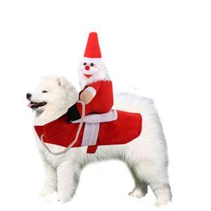 패션 개 크리스마스 승마 의류 높은 품질 애완 동물 산타 클로스 인형 의류 의류 페스티벌 공급 겨울 24gg H1