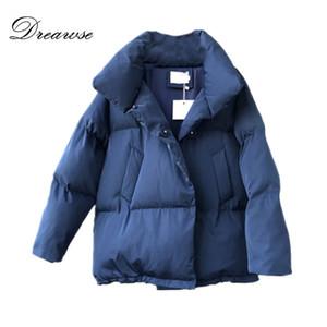 Dreawse stand Collare Donna cotone Cappotto invernale solido di colore coulisse Pane manica lunga caldo casuale allentato Mujer Parkas MZ3232