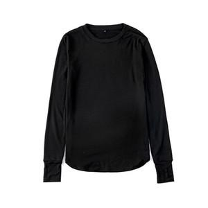 Hip Hop O-Cuello del pulgar agujero puños de manga larga Tyga Swag de Mens del estilo del lateral abierto Hip Hop Top tee camiseta del equipo de lana camiseta de tendencia