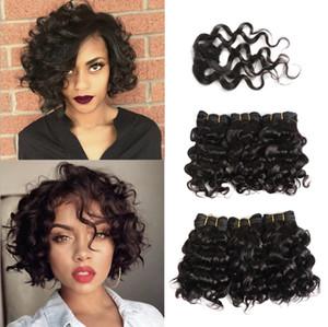 100% human hair short kinky curly wave hair bundles body wave With Closure 1B#