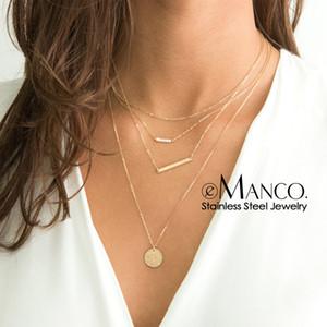 e-Manco moda colar multi camadas para colar carta de mulheres personalizado aço inoxidável mulheres pingente de colar gargantilha