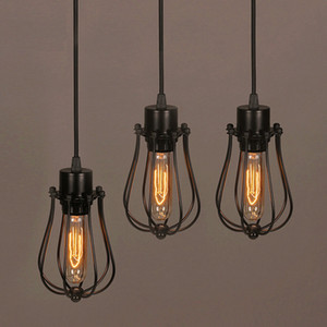 Free shipping Vintage Light Bulb Retro Industrial Edison 1 Light Metal Shade Ceiling Pendant Lamp Fixture Black With bulb