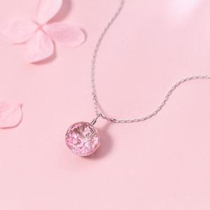 Mloveacc Cherry Blossoms Vero fiore vetro 925 sterling silver catena pendente collana donne gioielli di moda T190625