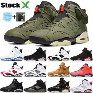 2019 Nike air jordan 6 homens Preto Infravermelho 6 6 s Sapatos de Basquete dos homens CNY Carmine Gatorade Verde Tinker UNC Gato Preto Sapatos Formadores tênis US 7-13