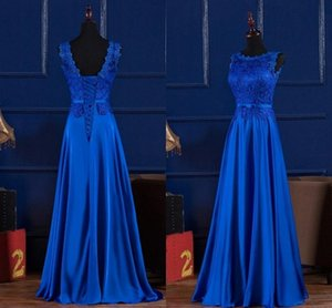 Elegant Royal Blue  Wine Red Scoop Lace Satin Long Dresses For Wedding Party Summer Prom Evening Gowns Maxi Dresses Vestidos
