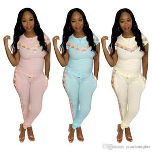 Pailletten Panelled Frauen-Sommer-dünne Klage Frauen 2pcs Designer Confortable Kleidung stellt Mode-Sport-beiläufige Tracksuits