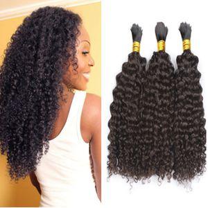 Cabelo humano brasileiro não processado Bulk Bulk Curly Curly Sem Trama Brasileira Bulk Natural Black 3 Pcs Lot